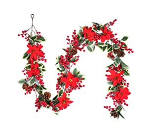 Christmas Garland with Red Berry Pine Cone Garland Poinsettia Flower Artificail Garland for Christmas Winter Holiday Decor (1)
