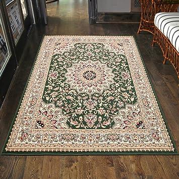 carpeto klassischer orientteppich perserteppich mit orientalisch ornamente muster kurzflor in grun top preis