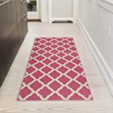"""Silk Road Concepts Collection Contemporary Rugs, 20"""" x 59"""", Reddish Pink"""