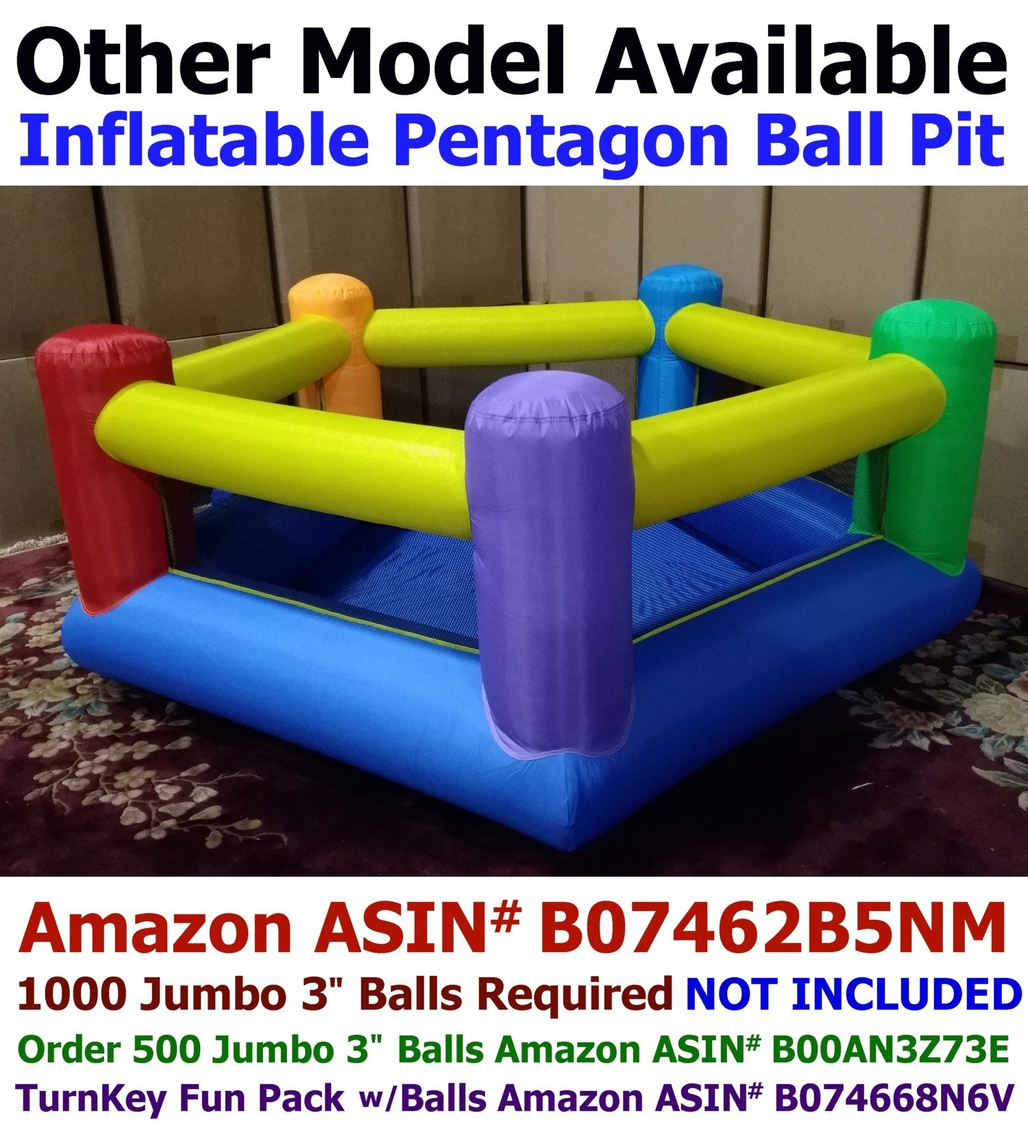 My Bouncer Little Castle 88'' L x 118'' W x 72'' H Bounce House Bopper w/ Built-in Ball Pit; Hoop & Step ( Required Minimum 500 pcs Jumbo 3'' Balls, Large Floor Space Required !!! )