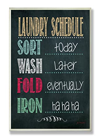 Stupell Home Dcor Laundry Schedule Chalkboard Bathroom Wall Plaque, 10 x  0.5 x 15,