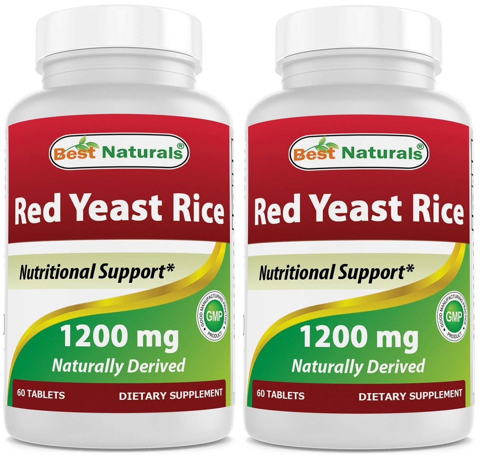 Best Naturals Red Yeast Rice 1200 Mg Tablet for Healthy Cholesterol Level, 60 Count (Pack of 2)
