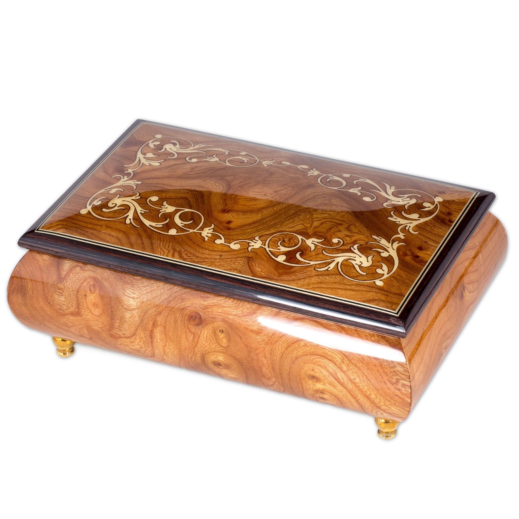 Italian Hand Crafted Inlaid Natural Wood Musical Jewelry Box - Plays Canon In D