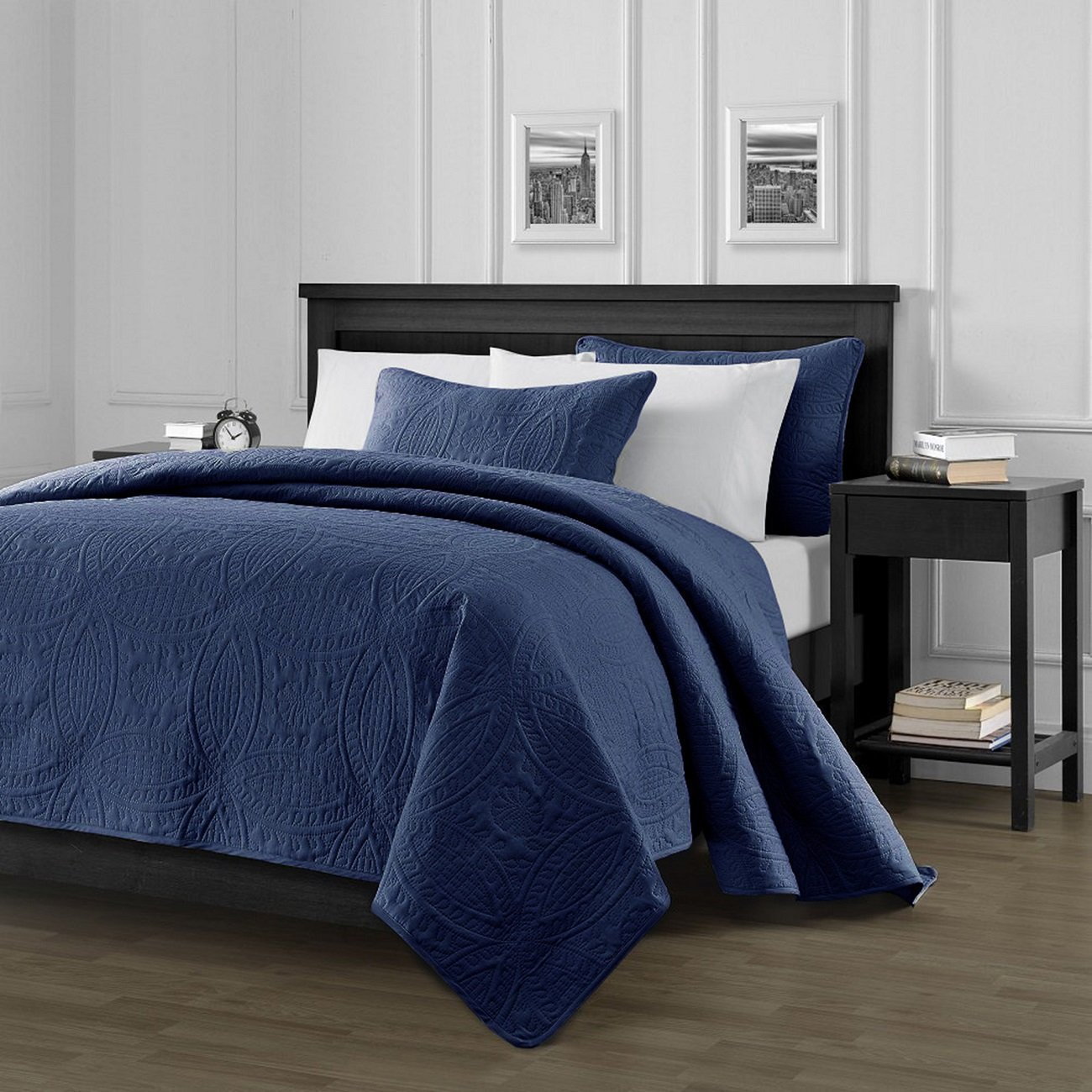 Chezmoi Collection Austin 3-Piece Oversized Bedspread Coverlet Set King, Navy