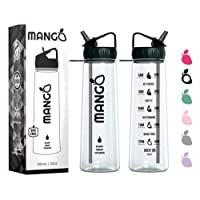 Mango Sports Water Bottle With Straw Motivational Time Markings - BPA Free With Flip Nozzle, Leakproof Cap and Times To Drink [900ml/32oz]