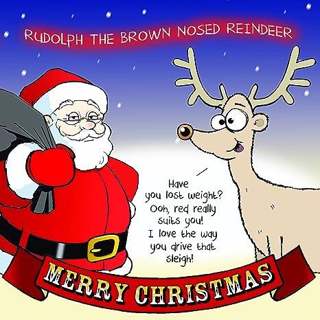 Biglietti Di Natale Divertenti.Twizler Buon Natale Con Babbo Natale E Renna Dal Naso Marrone