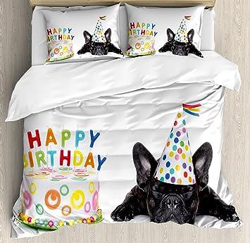 Geburtstag Dekorationen Für Kinder Bettbezug Set By Ambesonne, Sleepy  Französische Bulldogge Party Kuchen Mit Kerzen