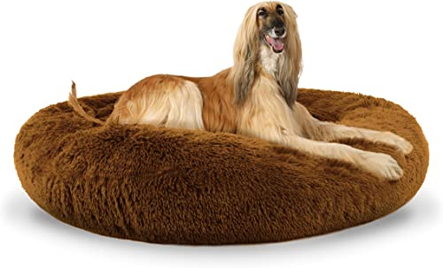The Dog's Bed Sound Sleep Donut Dog Bed, XL Teddy Bear Brown Plush Removable Cover Premium Calming Nest Bed