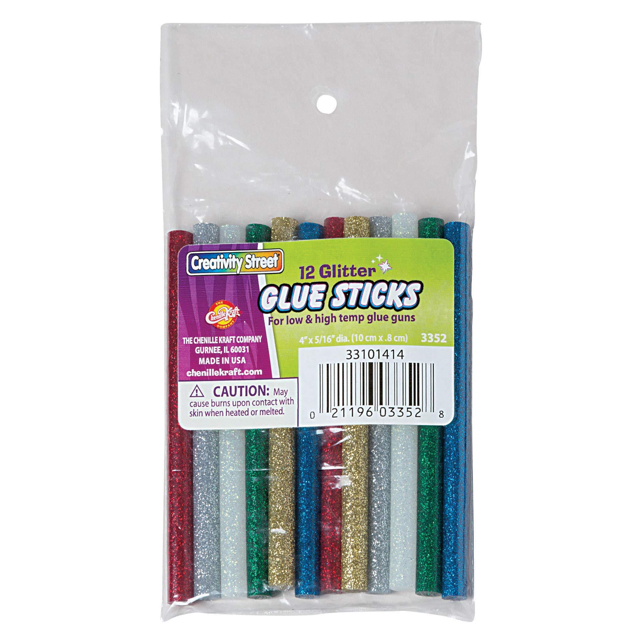 Creativity Street PACAC3352BN Hot Glue Sticks, Glitter, 4'' x 0.31'', 12 Per Pack, 6 Packs