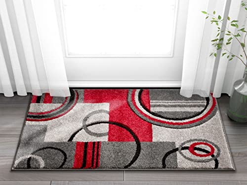 Well Woven 60010-DMT Door Mat Scatter Entry Mat Ruby Contemporary Modern Accent Rug, 1 8 x 2 7 Grey Red