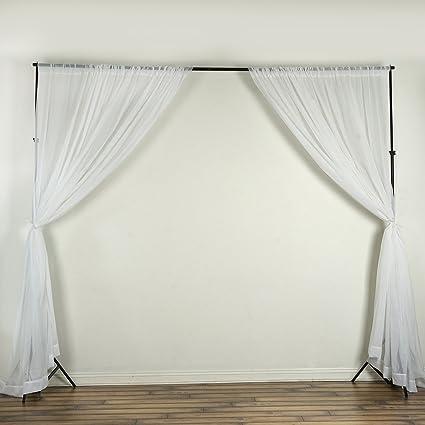 BalsaCircle 10 Feet X White Sheer Voile Backdrop Drapes Curtains 2 Panels 5x10 Ft