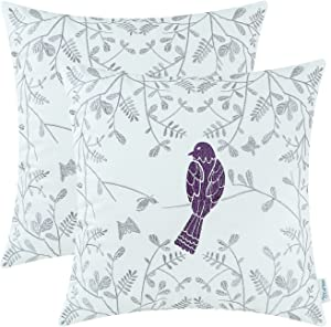 CaliTime Pack of 2 Cotton Throw Pillow Cases Covers for Bed Couch Sofa Cute Bird in Gray Garden Embroidered 16 X 16 Inches Purple