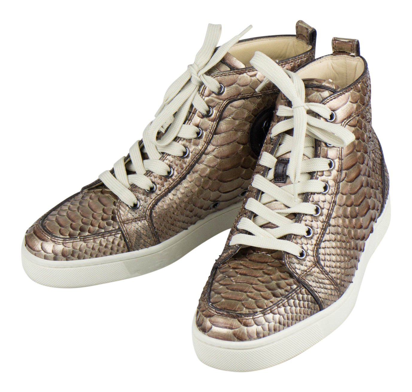official photos f0f61 8f9d6 Christian Louboutin Brown Python Snake Skin Sneakers Shoes 6 ...