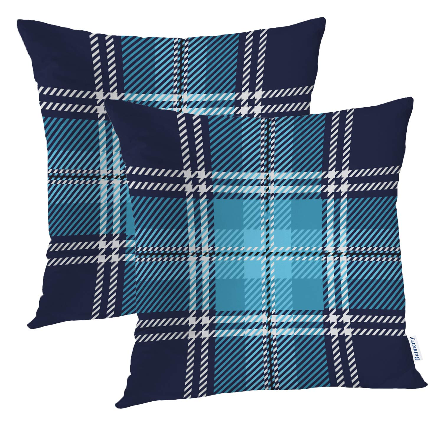 Sensational Batmerry Checkered Pillow Covers 18X18 Inch Set Of 2 Blue And White Checkered Fabric Design Double Sided Decorative Pillows Cases Throw Pillows Ibusinesslaw Wood Chair Design Ideas Ibusinesslaworg