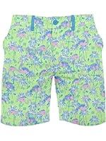 Men's Flamingo Print Shorts - Ultra-Soft Elastic Button Short Shorts