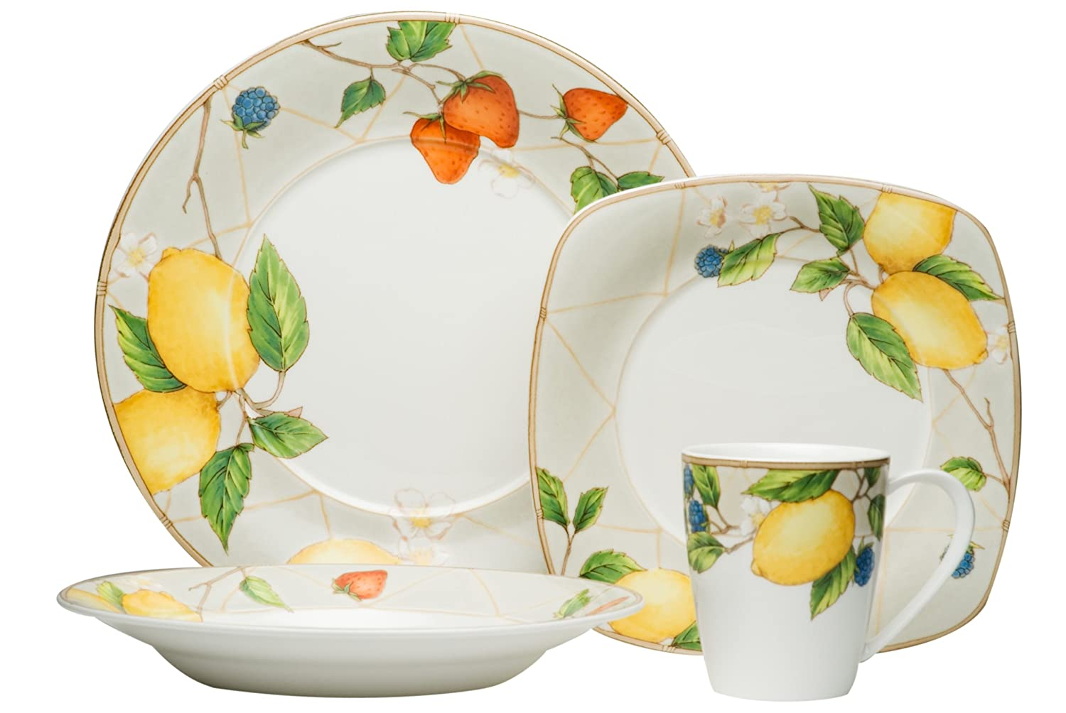 Red Vanilla Fruit Salad 16-Piece Dinner Set