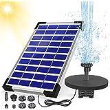AISITIN 5.5W Solar Fountain Pump built-in 1500mAh Battery Solar Water Pump Floating Fountain with 6 Nozzles, for Bird Bath, F
