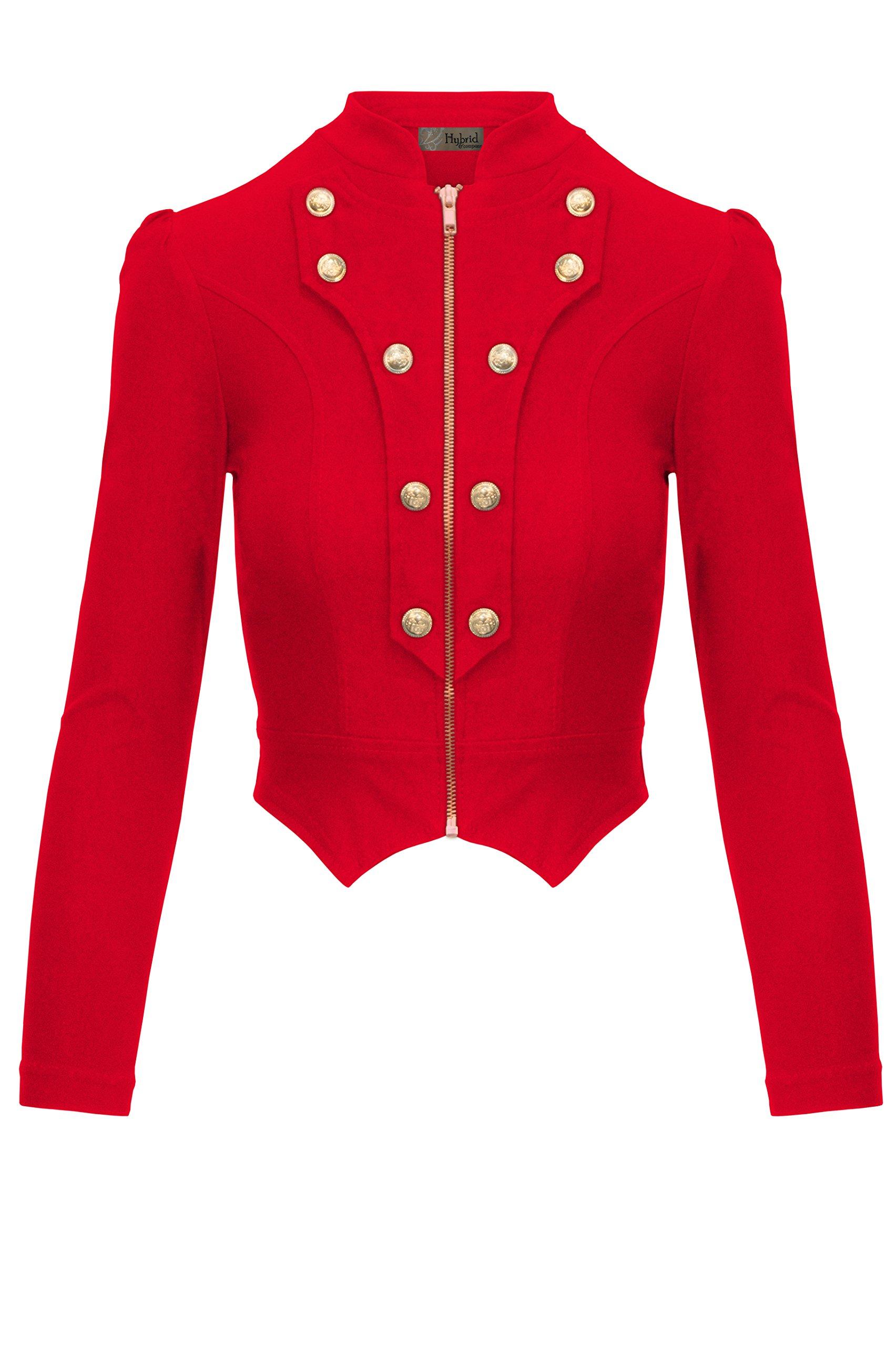 HyBrid & Company Women's Military Crop Stretch Gold Zip up Blazer Jacket KJK1125 Red Small
