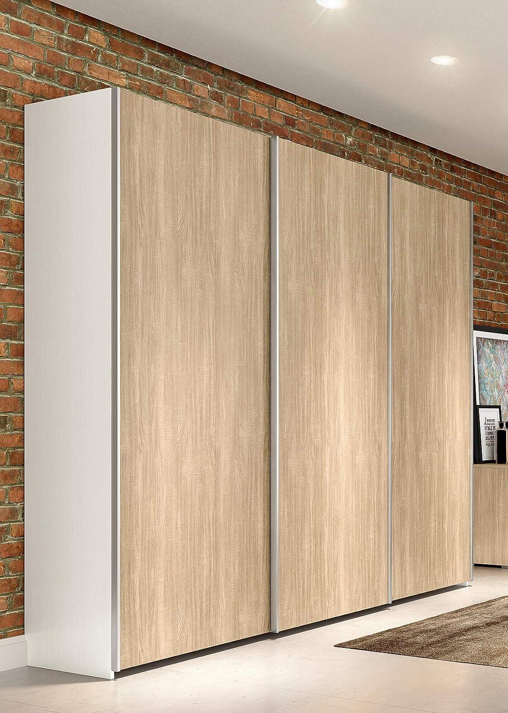 Tosend 108AS3BQ - Armario para dormitorio de 3 puertas correderas, color blanco fresno y Olmo: Amazon.es: Hogar