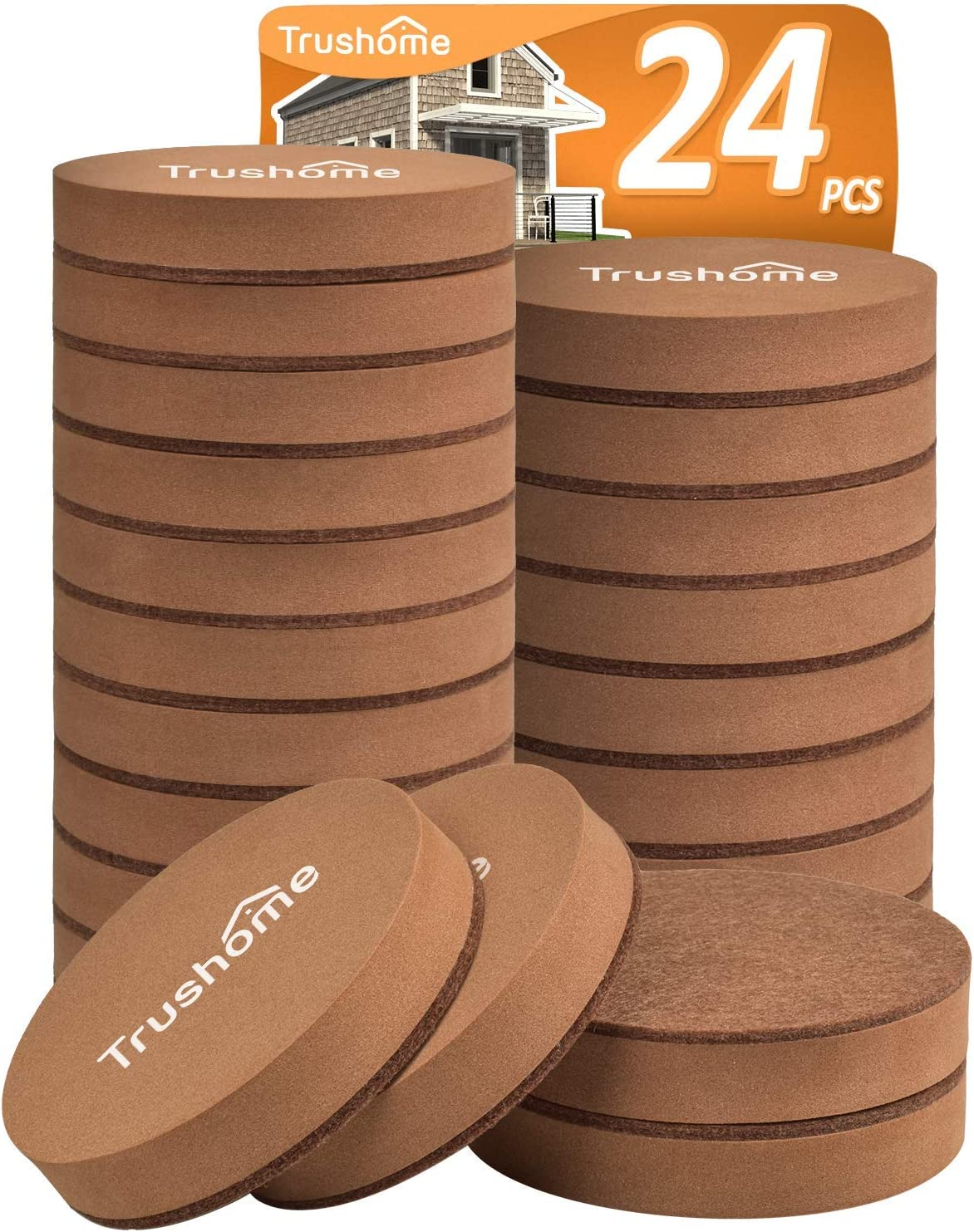 Furniture Sliders for Hardwood Floors, 24 PCS Furniture Sliders – 2 1/2 inch Heavy Duty Felt Furniture Movers for Hard Surfaces, Reusable Moving Pads Easy to Move Your Furniture