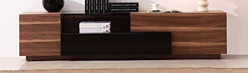 J and M Furniture TV Stand 015 in Walnut Black High Gloss