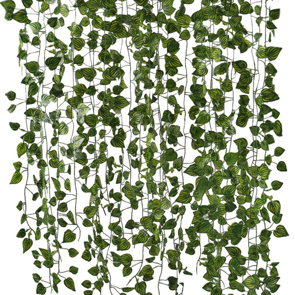 huaesin人工ハンギング植物、79 FtシルクスイカアイビーFake Vines Leaves for Reptiles壁結婚リビングルームアウトドアパーティー祭の装飾パック12 B07C783BR4