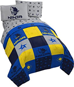 Jay Franco Ninja Patchwork 5 Piece Full Bed Set - Includes Reversible Comforter & Sheet Set - Super Soft Fade Resistant Microfiber - (Official Ninja Product)