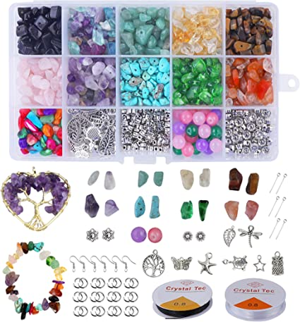 Xiangmall 1017 Piezas Cuentas Piedra Natural Irregulares Piedras Colores Cristal con Gancho Pendientes Anillo Salto Línea Utiliza Para Bricolaje ...