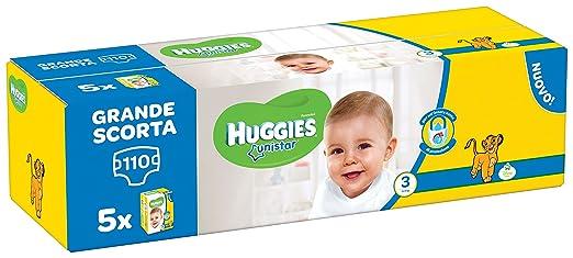 2 opinioni per Huggies Unistar Pentabox, Taglia 3 (4-8 kg), 5 Confezioni da 22 [110 Pannolini]