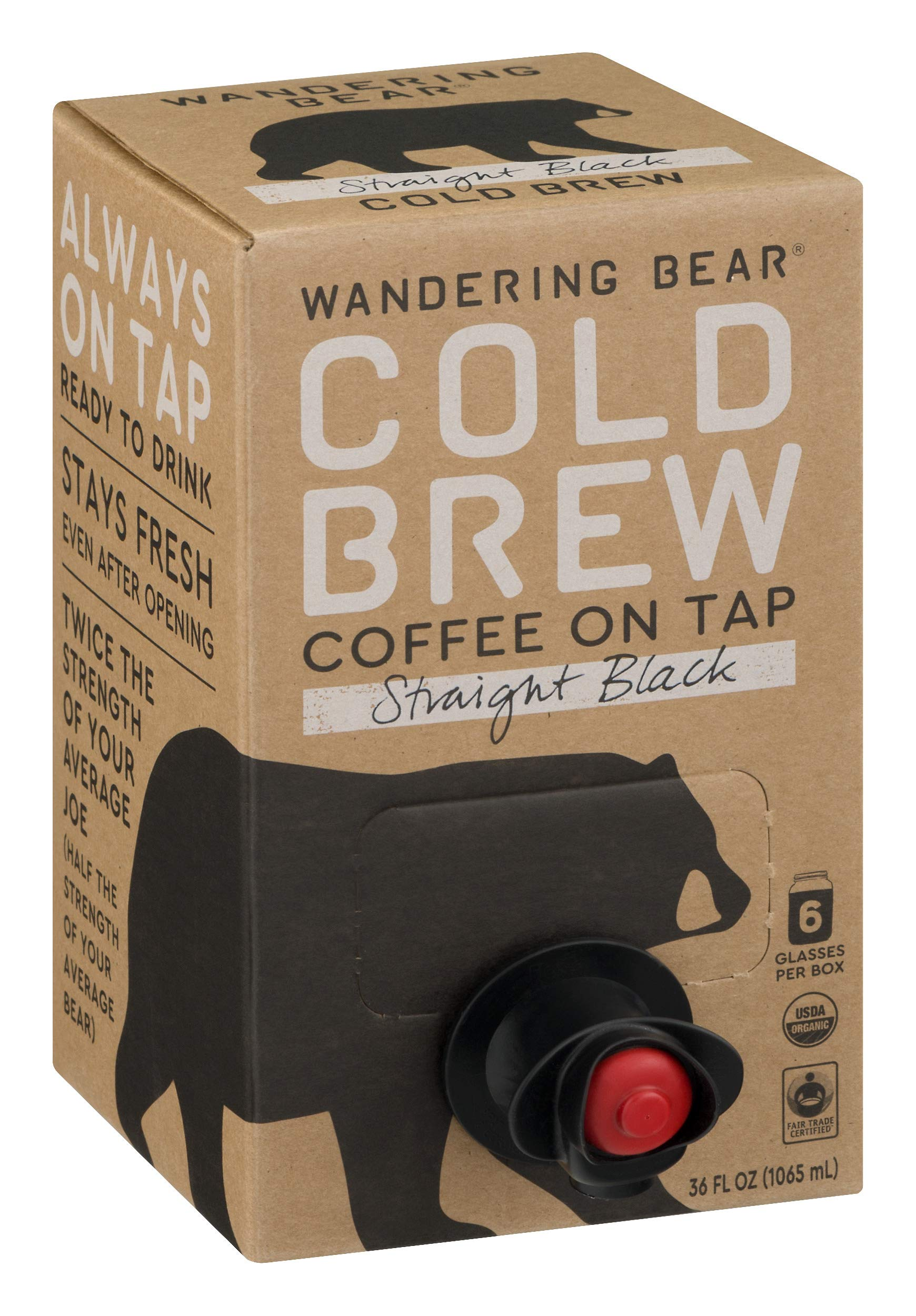 Wandering Bear Organic Cold Brew Coffee On Tap, Straight Black, No Sugar, Always Fresh and Ready to Drink, Not a Concentrate, 36 fl oz