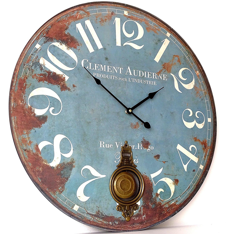 Large Rustic Blue Pendulum Wall Clock Heaven Sends UKASNBABO784