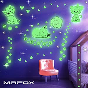 Glow in The Dark Cat Stickers with Dog and Fish, Wall Decals Sticker for Kids Bedding Room, Great for Birthday Gift Glowing Cat for Girls and Boys