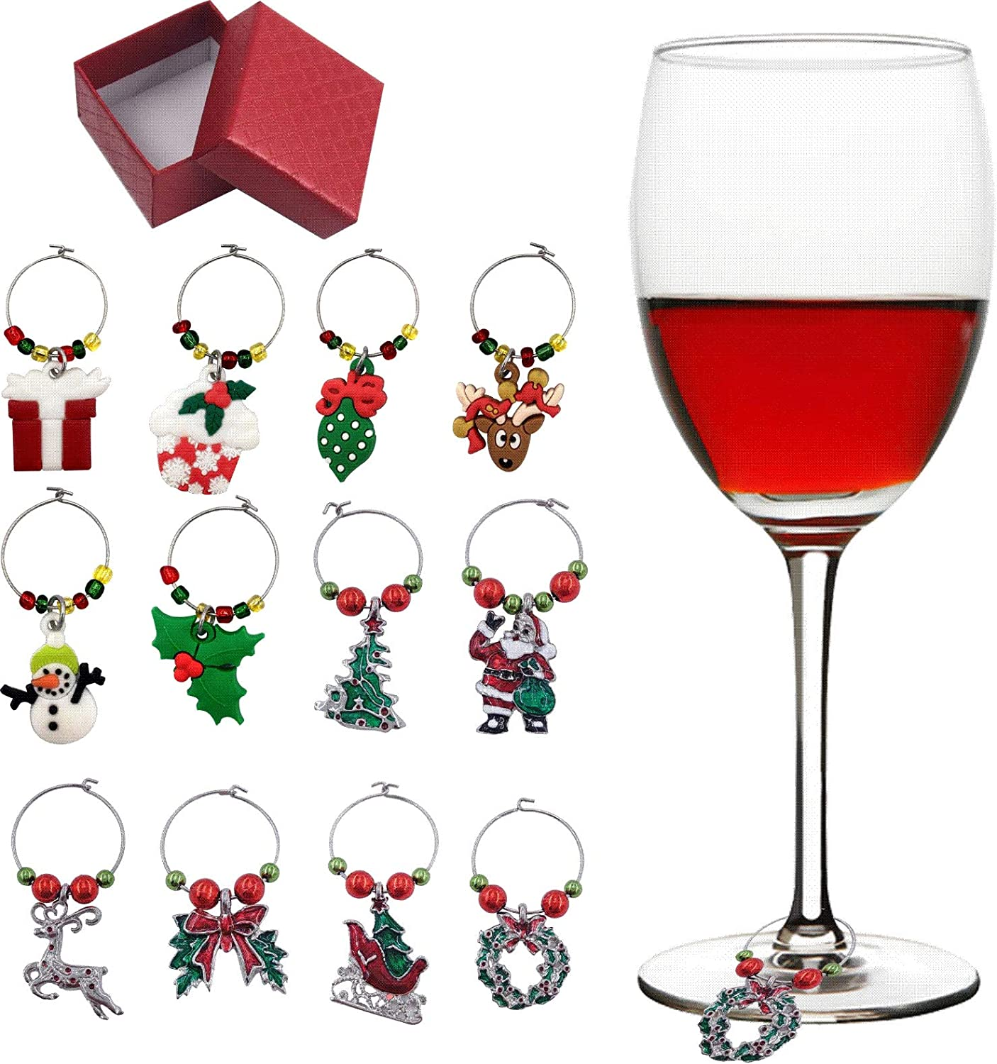Holiday Christmas Wine Glass Charms Tags  Wine Drinker Gift set of 12 in gift box  Champagne Cocktail Drink Markers  gold