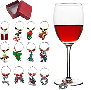 Holiday Christmas Wine Glass Charms Tags, Wine Drinker Gift set of 12 in gift box, Champagne Cocktail Drink Markers (gold)