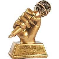 Trofeo Micrófono Dorado Juvale - Trofeo pequeño de resina para premios de canto, 14 cm x 12 cm x 5,7 cm