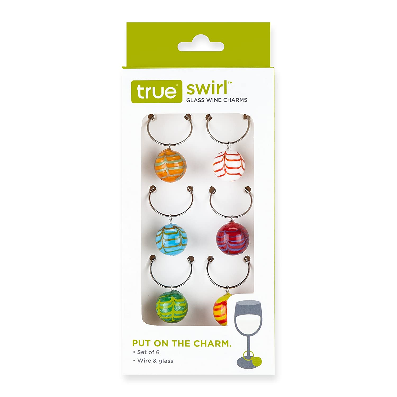 Swirly Mulii-Colored Glass Balls Wine Glass Stem Charms (Set of 6)