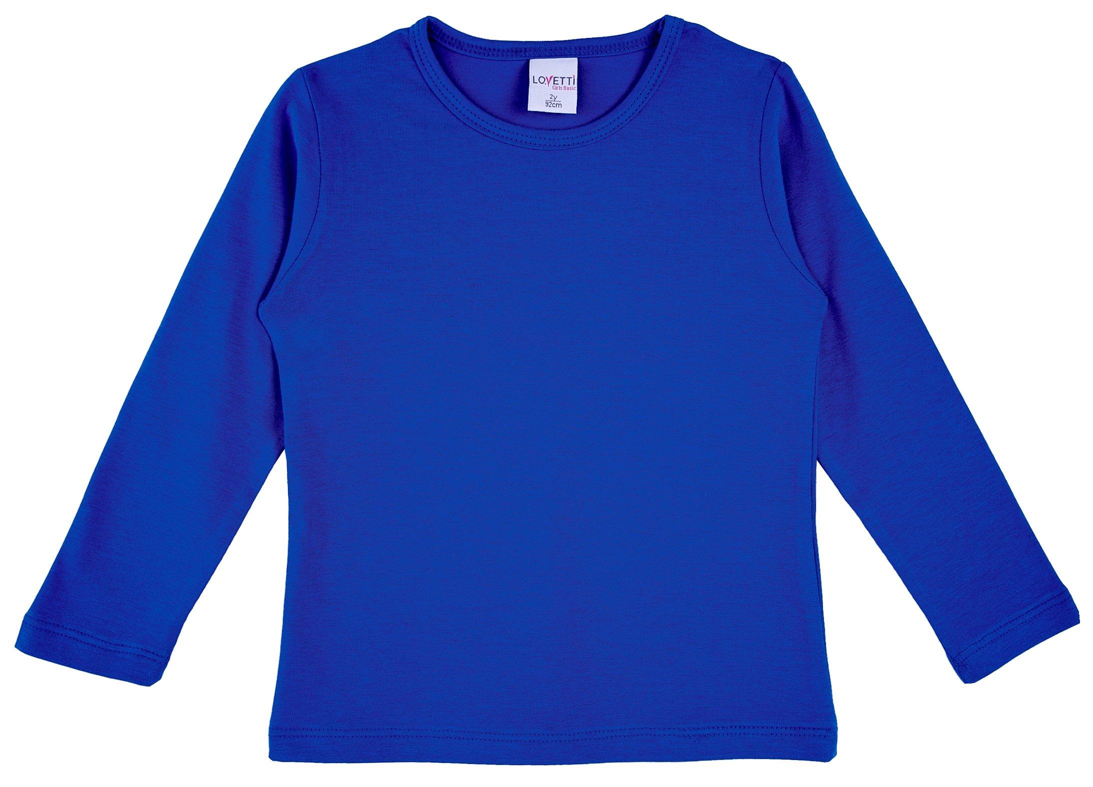 Lovetti Girls' Basic Long Sleeve Round Neck T-Shirt 3T Royal by Lovetti