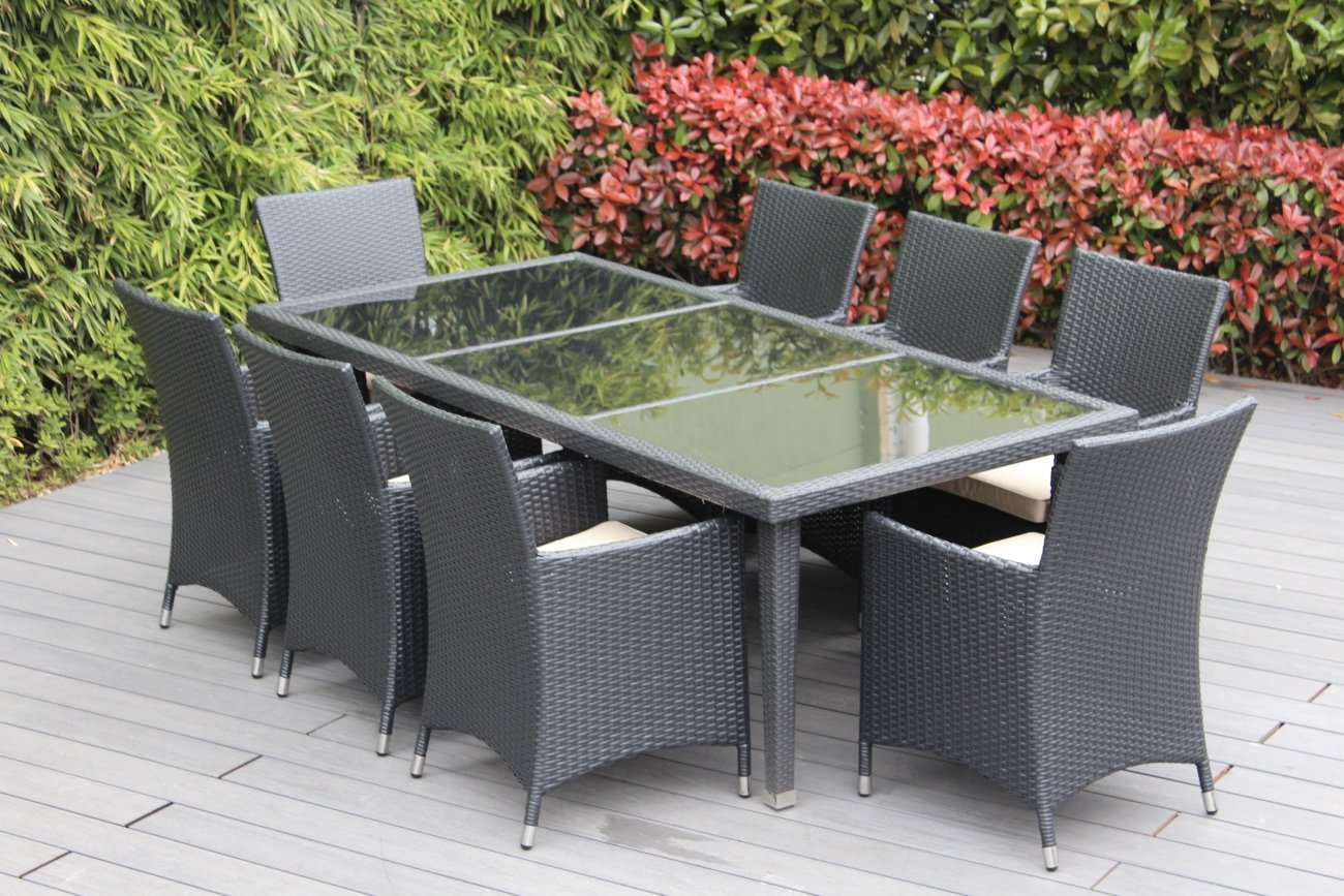 Amazon.com: Genuine Ohana Outdoor Patio Wicker Furniture 9pc All Weather  Dining Set with Free Patio Cover: Garden & Outdoor