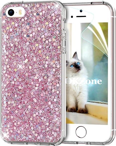 OKZone Funda iPhone SE Carcasa Purpurina,Funda iPhone 5/5S, Cárcasa Brilla Glitter Brillante TPU Silicona Teléfono Smartphone Funda Móvil Case para Apple iPhone 5/iPhone 5S/iPhone SE (Rosado): Amazon.es: Electrónica
