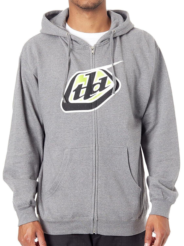 Troy Lee Designs grau Heather Classic Logo Kapuzenpullover mit Reißverschluss