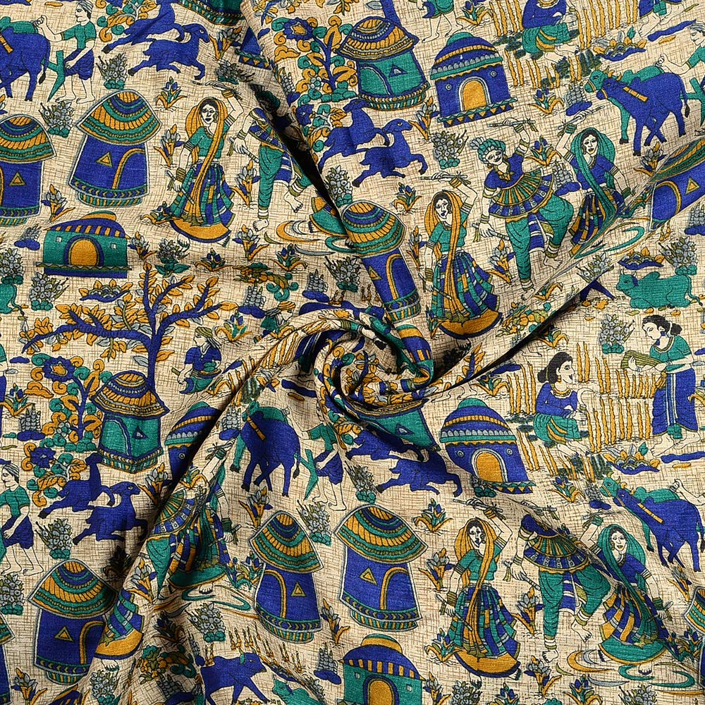 Shopolics Cream-Blue and Green Village Design Kalamkari Manipuri Silk Fabric-16235 for Wedding, Festival, Party Wear (1 Yard)