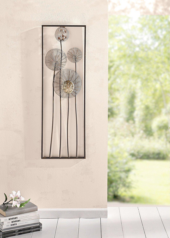 con effetto ruggine luccicante Decorazione floreale da parete in metallo