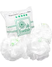 Lulu Essentials Premium Quality White Loofah (4 Pack) Bath and Shower Sponge, Mesh Poufs, Loofah Scrubber (White)