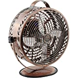 Himalayan Breeze Bronze Oscillating Fan, Portable Fan, ETL Certified Unique Decorative Lightweight Table Fan By WBM