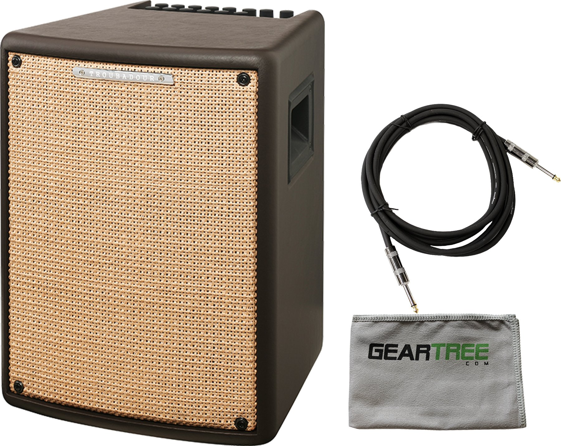 Ibanez T80II Troubadour II Acoustic Guitar Combo Amplifier Brown - 80 Watt w/ Cable and Geartree Cloth by I.B.A.N.E.Z.