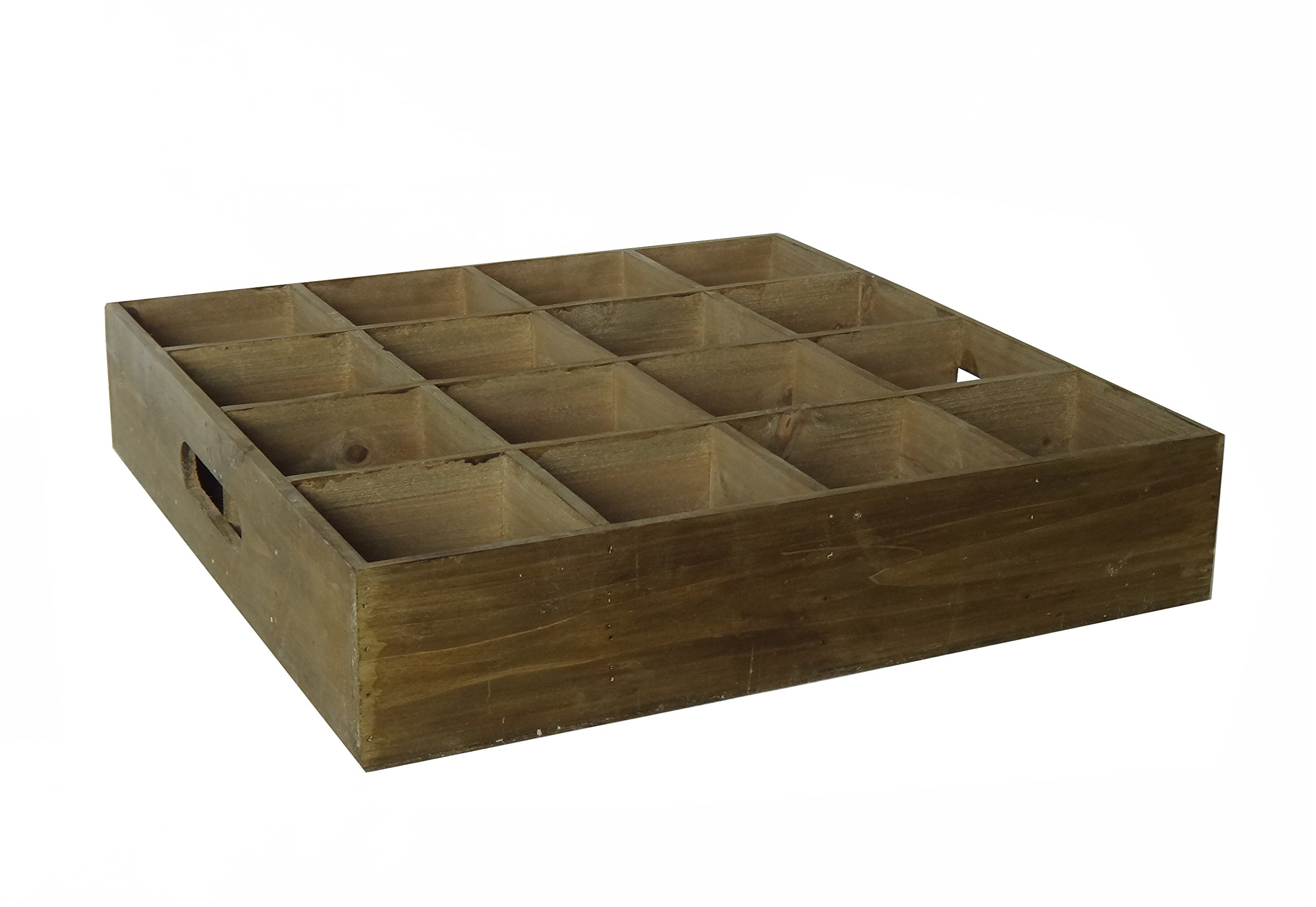 Cheung's FP-3887BR Wooden Crate with 16 Square Slots & Side Handles
