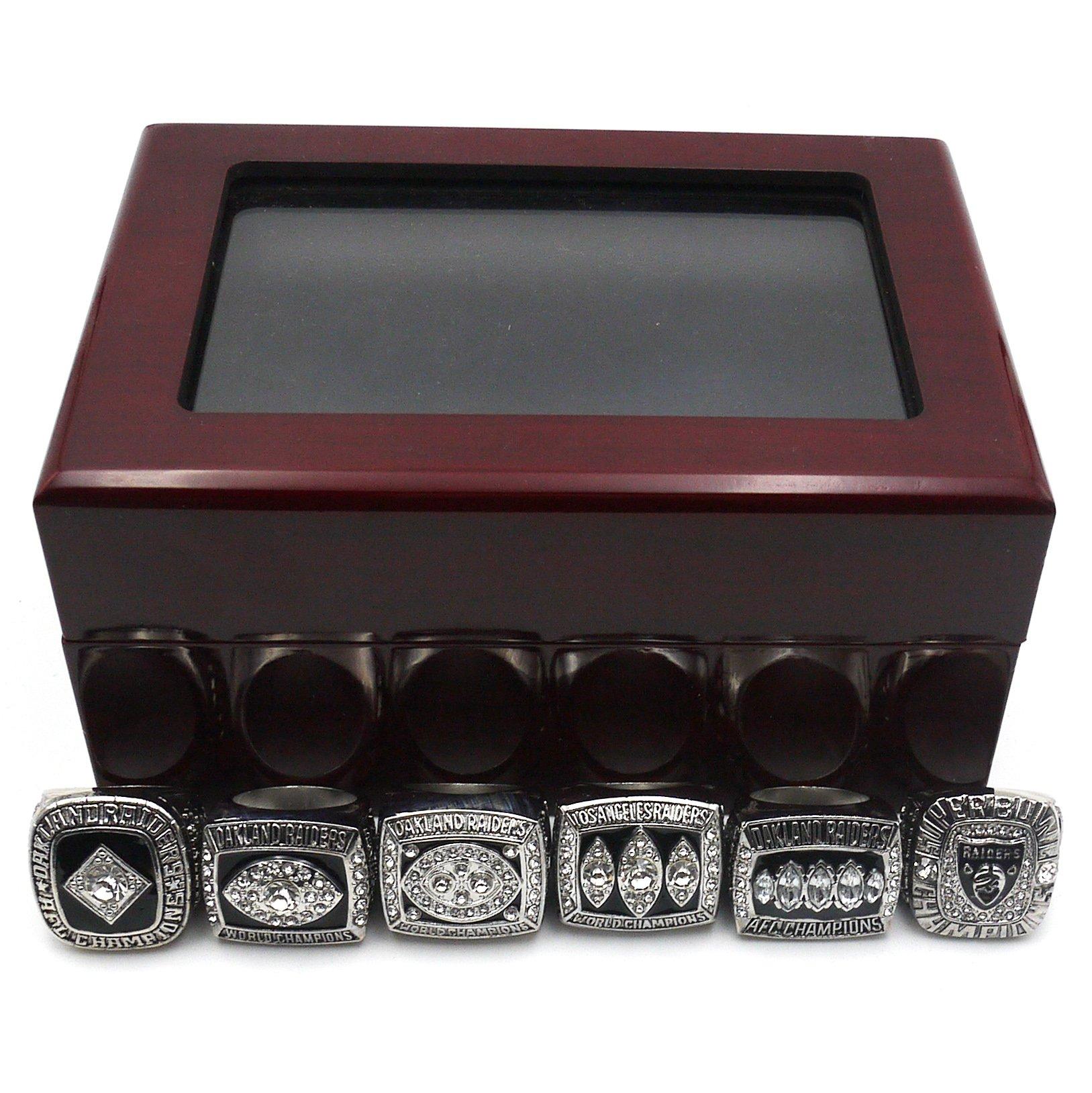 Vonscool 6pcs + Wooden Box Set 1967 1976 1980 1983 2002 2014 Oakland Raiders Championship Ring Size 11 Fan Men Gifts