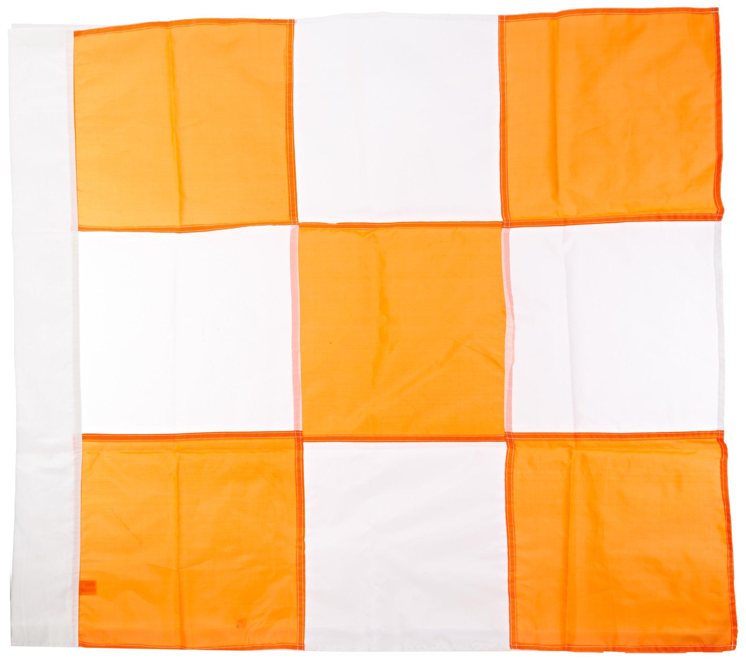 Mutual 14977 Heavy Duty Nylon Airport Flag, 36'' Length x 36'' Width, Orange/White