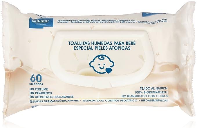 Salustar - Toallitas húmedas para bebés - Especial pieles atópicas - 60 unidades