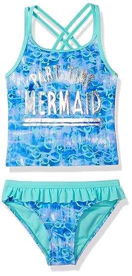 375b6581c386cb Angel Beach Little Girls Tye Dye Mermaid Foil Tankini Swim Set, Multi, 4